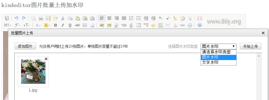 kindeditor 批量上传加水印附源文件下载.net版本