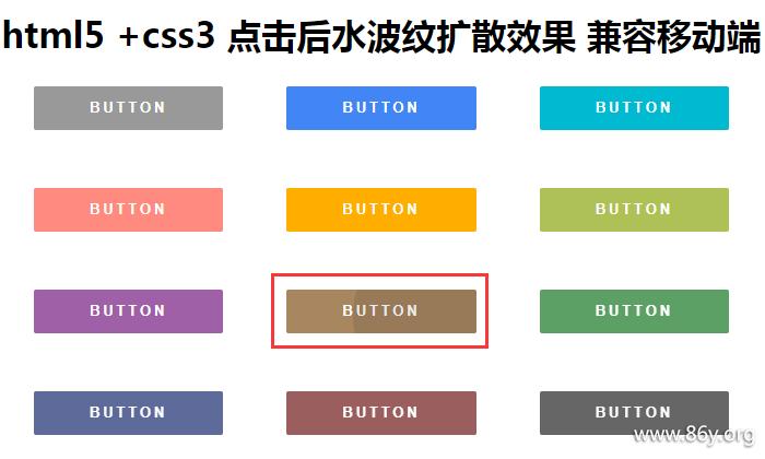 html5+ js +css3 点击后水波纹扩散效果 兼容移动端